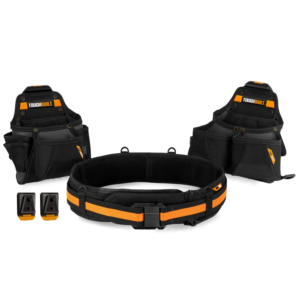 ToughBuilt - Tradesman Tool Belt Set - 3 Piece, Includes 2 Pouches, Padded Belt, Heavy Duty, Deluxe Organizer Premium Quality - 27 Pockets, Pry Bar Loop, 2 Patented ClipTech Hubs (TB-CT-111-3) by ToughBuilt