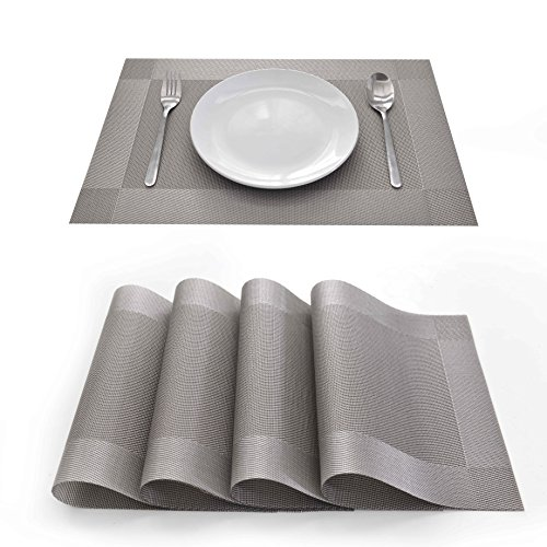 EJIAS PVC Placemats Table Mat – Set of 4 Classical Checked PVC Place Mats for Dining Room Washable PVC Table Mats for Kitchen Room Water Resistant Heat Resistant Mats 18X12 Inch (Grey)