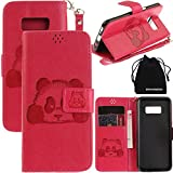 S8 Plus Case, Galaxy S8 Plus Case, DRUnKQUEEn 3D Creative Cartoon Panda Cover Soft Leather Case with Hand Strap for Samsung Galaxy S8 Plus – Rose red