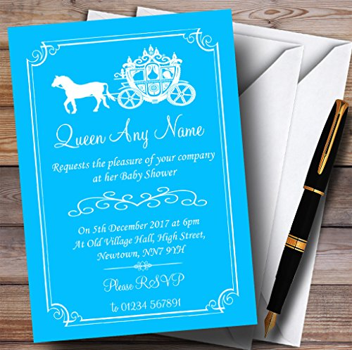Blue Horse Carriage Princess Invitations Baby Shower Invitations