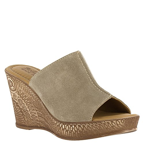 Bella Vita Women's Dax-Italy Taupe Suede Leather Sandal