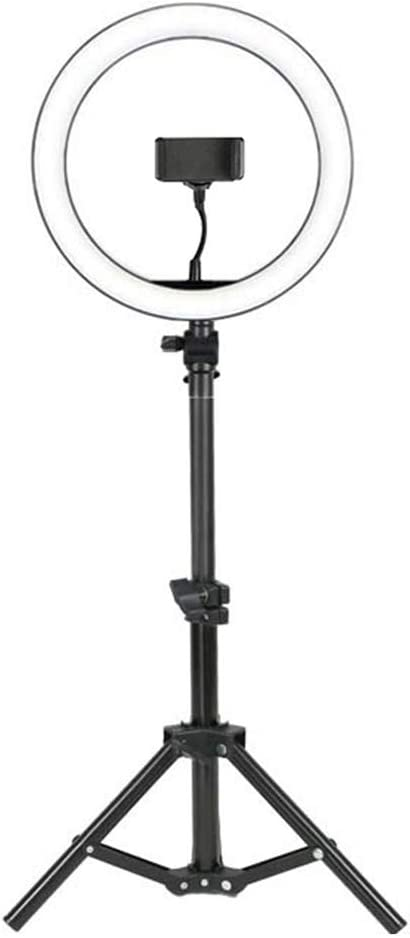 DelongKe Led Ring Light Kit 10In Dimmable with Tripod Stand with Cell Phone Holder Stand for Live Stream Makeup YouTube Self-Portrait Shooting