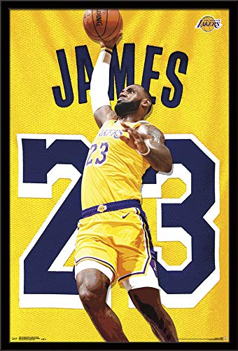Los Angeles Lakers Framed - Trends International Los Angeles Lakers - Lebron James Action Wall Poster, 24.25