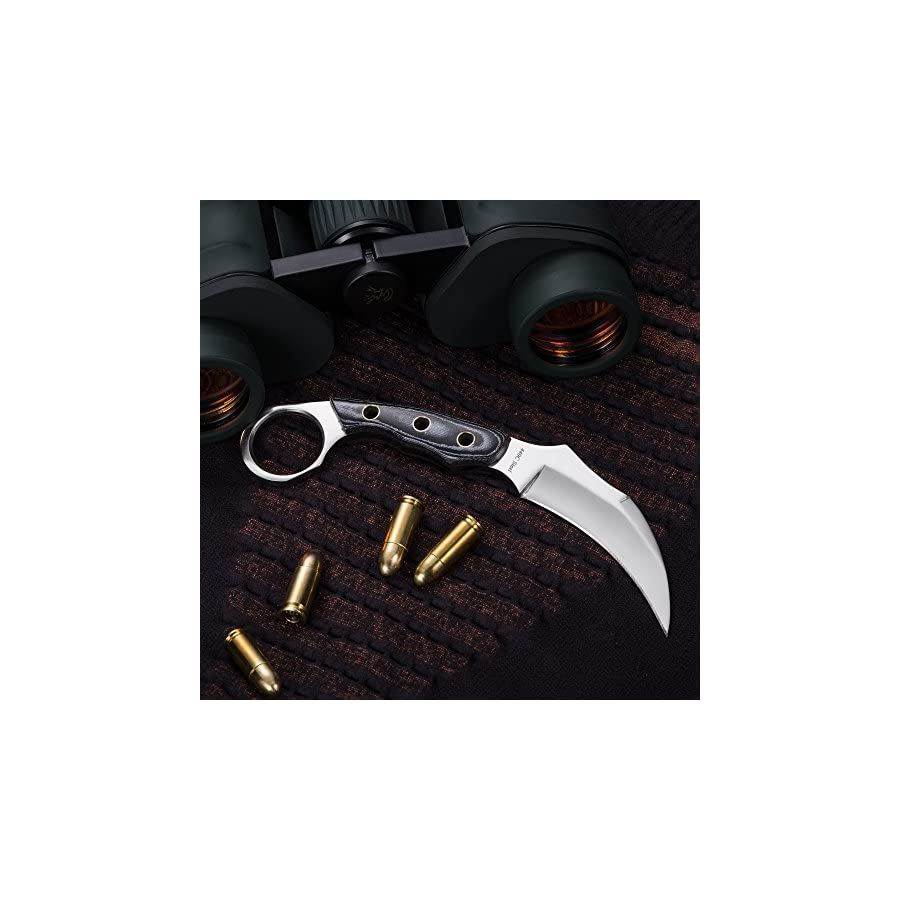 Grand Way Karambit Fixed Blade Karambit Knife with Mikarta Handle Claw Blade Best Fix for Survival 2534 MP