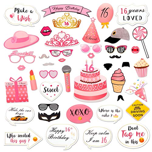 Sweet 16 Birthday Photo Booth Props Kits Party - 44Pcs Funny Sweet Sixteen Photo Props Party Supplies Happy 16th Birthday Decorations Pink Party Favors by QIFU