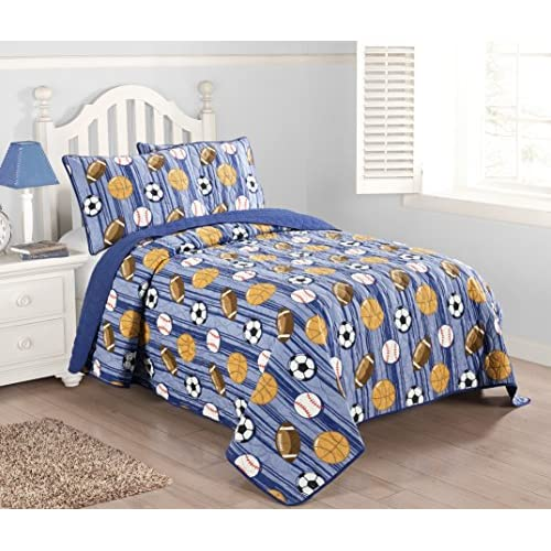 Kute Kids 2-3 Piece Quilt Set Including Sham(s) – Available in Twin and Full Size – Perfect for Toddlers and Boys – Baseball, Football, Soccer and Basketball Design (Blue, Full) for sale