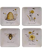 """Certified International Bee Sweet 6"""" Canape/Luncheon Plates, Set of 4 Assorted Designs, Multi Colored"""