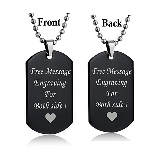 Personalized Custom Message Engrave Personalized Necklace Dog Tag Pendant Stainless Steel Chain Keyring (Black) (Pendant Sports Tag Necklace)