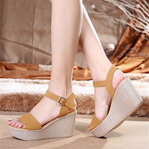 y Suave La Verano C Sandalias YMFIE Elegantes Sra cuña Abiertas Deslizamiento Cuero de cómodas Sandalias de de Inferior T0OnaqwOd