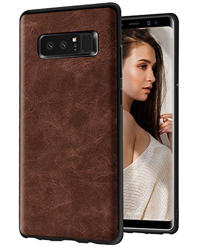 Galaxy Note 8 Case, KAMII [Business Style] Ultra Slim Shockproof Raised Edge Protective PU Leather Case Cover for Samsung Galaxy Note 8 2017 (Brown)