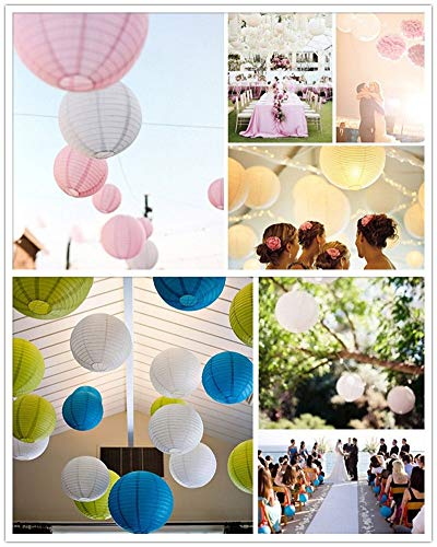 Round Paper Lantern - 100pcs 16 Quot 40cm Colorful Chinese Round Paper Lanterns Home Hanging Lamps Festival Decoration - 18'' Black Lights String Pink Gold Green Light With White