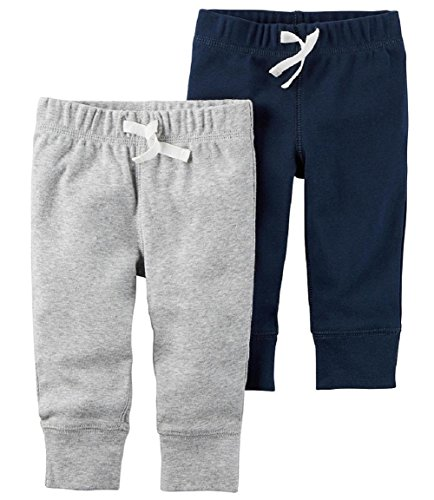 Carter's Baby Boys' 2-Pack Pants (Navy/Grey, 9 Months)