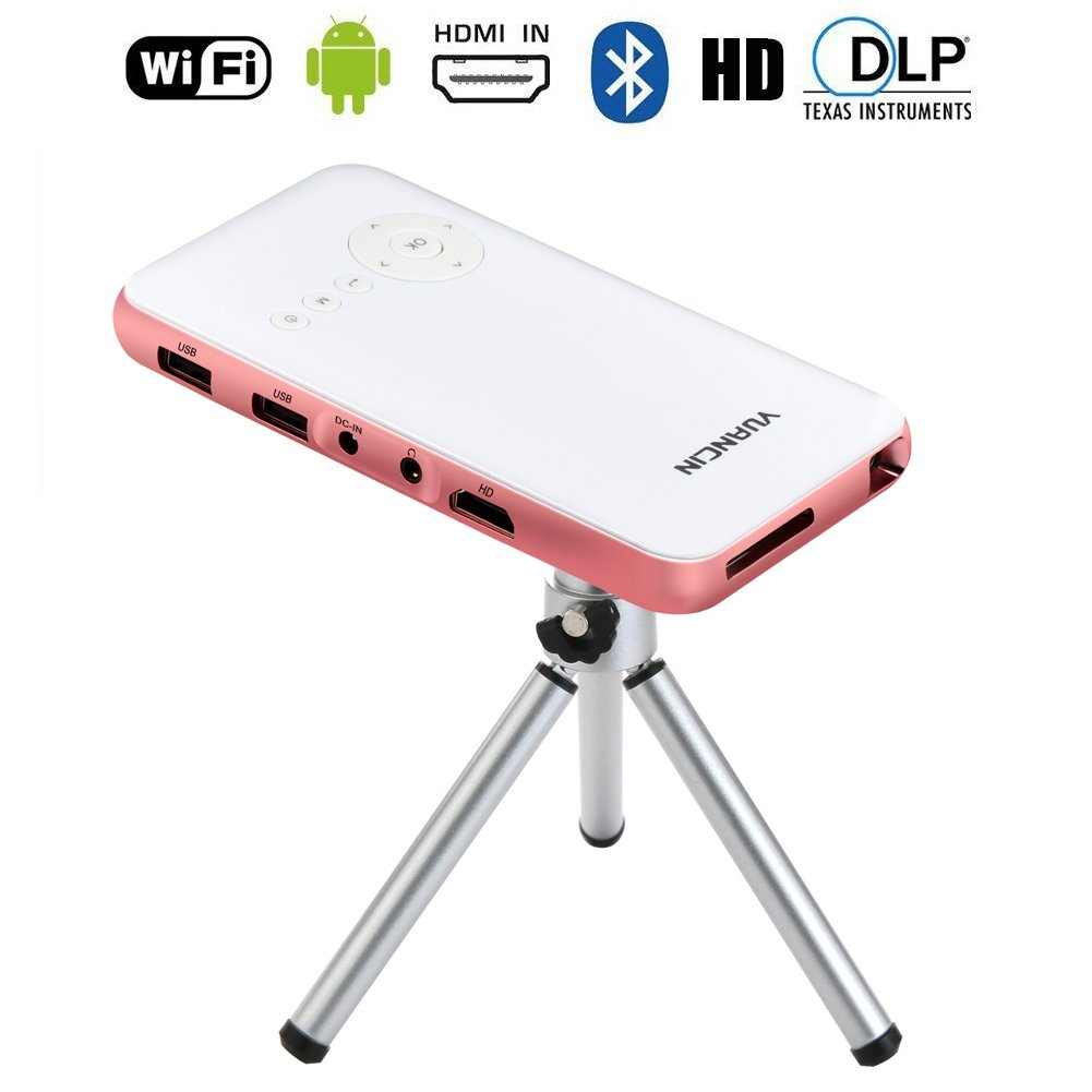 Yuancin 32GB Smart Mini Android Wireless Portable Projector -Features with Dual Wifi HDMI Input and Vertical Keystone Correction - Slim Wireless HD DLP Pico Projector