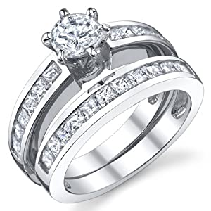 Sterling Silver Wedding Engagement Ring Set With Cubic Zirconia CZ