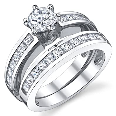 sterling silver wedding engagement ring set with cubic zirconia cz size j 12 - Silver Wedding Ring Sets