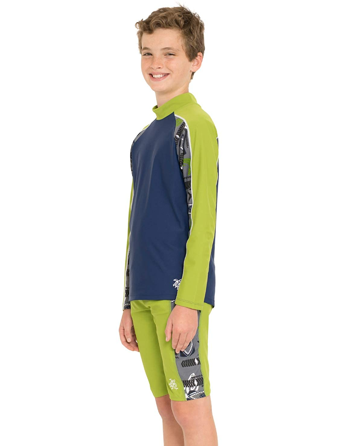 UPF 50 Swimwear Tuga Boys Two Piece Long Sleeve Swim Suit Set 2-14 Years