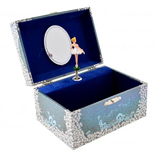 Image Toys Kinder-Schmuckkästchen Schmuckschatulle mit Ballerina-Spieluhr in der Farbe blau
