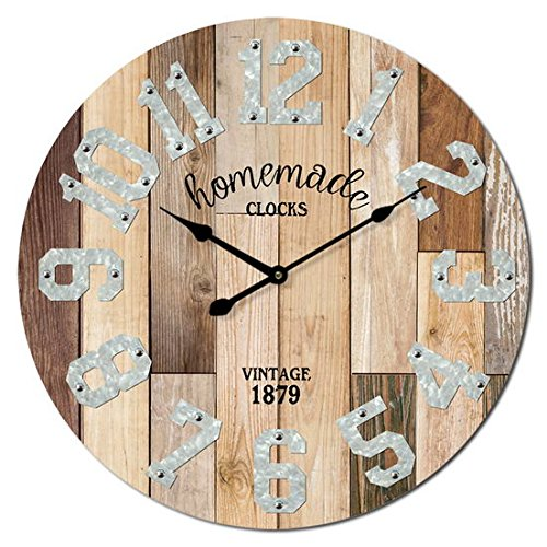 M&M Trading Wall Clock 23 Inch Natural Color Wood Plank Look With Real Metal Numbers