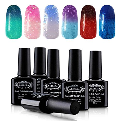 Soak Off UV/LED Gel Nail Polish, Mood Changing, Temperature Colors Changes Perfect Match Thermal Lacquers, Pack of 6 x 10ml -Set #03 by Perfect Summer - 3rd Degree Makeup