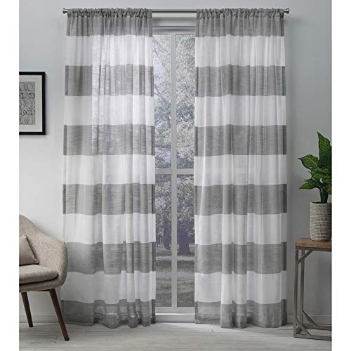 Exclusive Home Curtains Darma Sheer Linen Window Curtain Panel Pair with Rod Pocket, 50x84, Black Pearl, 2 Piece