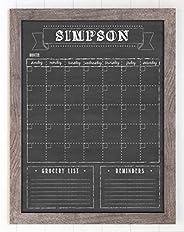 "Framed Wall Calendar, Custom Dry Erase calendar, 18"" x 24"" framed reusable calendar, chalkboard styl"