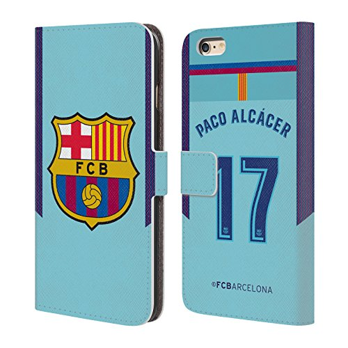 Official FC Barcelona Paco Alcácer 2017/18 Players Away Kit Group 1 Leather Book Wallet Case Cover for iPhone 6 Plus/iPhone 6s Plus