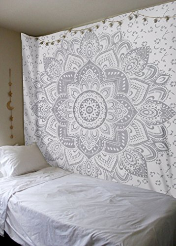 New Launched White Silver Passion Ombre Mandala Tapestry By Madhu International, Boho Mandala Tapestry, Wall Hanging, Gypsy Tapestry,Multicolor, 84 X 54 inches