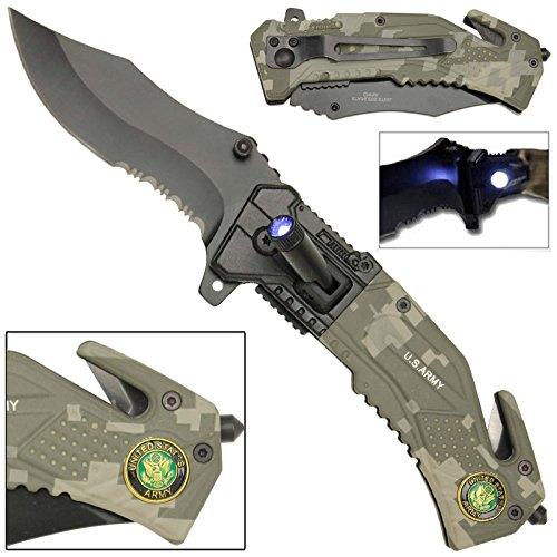 Flashlight Tactical Rescue Pocket Knife