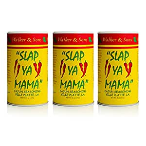 Slap Ya Mama All Natural Cajun Seasoning from Louisiana, Original Blend, MSG-Free and Kosher, 8 Ounce Can, Pack of 3