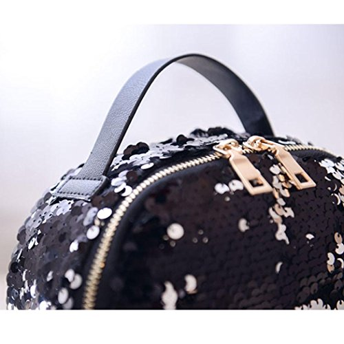 Basic Satchel School Resistant Bag Sequins Fashion Black Daypack Travel Classic Travel for Water School Backpack Style OutstaWomen Black Casual 1wHYv7