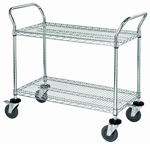 Quantum Storage Systems WRC-2448-2 2-Tier Wire Utility Cart, 2 Wire Shelves, Chrome Finish, 37-1/2