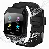 C2DJOY For Fitbit Ionic Replacement Bands Rugged Protective Frame Case Accessory Sport Bands For Fitbit Ionic Watch Black(6.7-8.1inch)