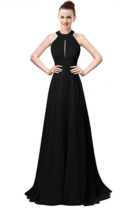 f2918a2d46a9 ThaliaDress Women Halter Long Backless Formal Gown Bridesmaid Dress T105LF  at Amazon Women's Clothing store: