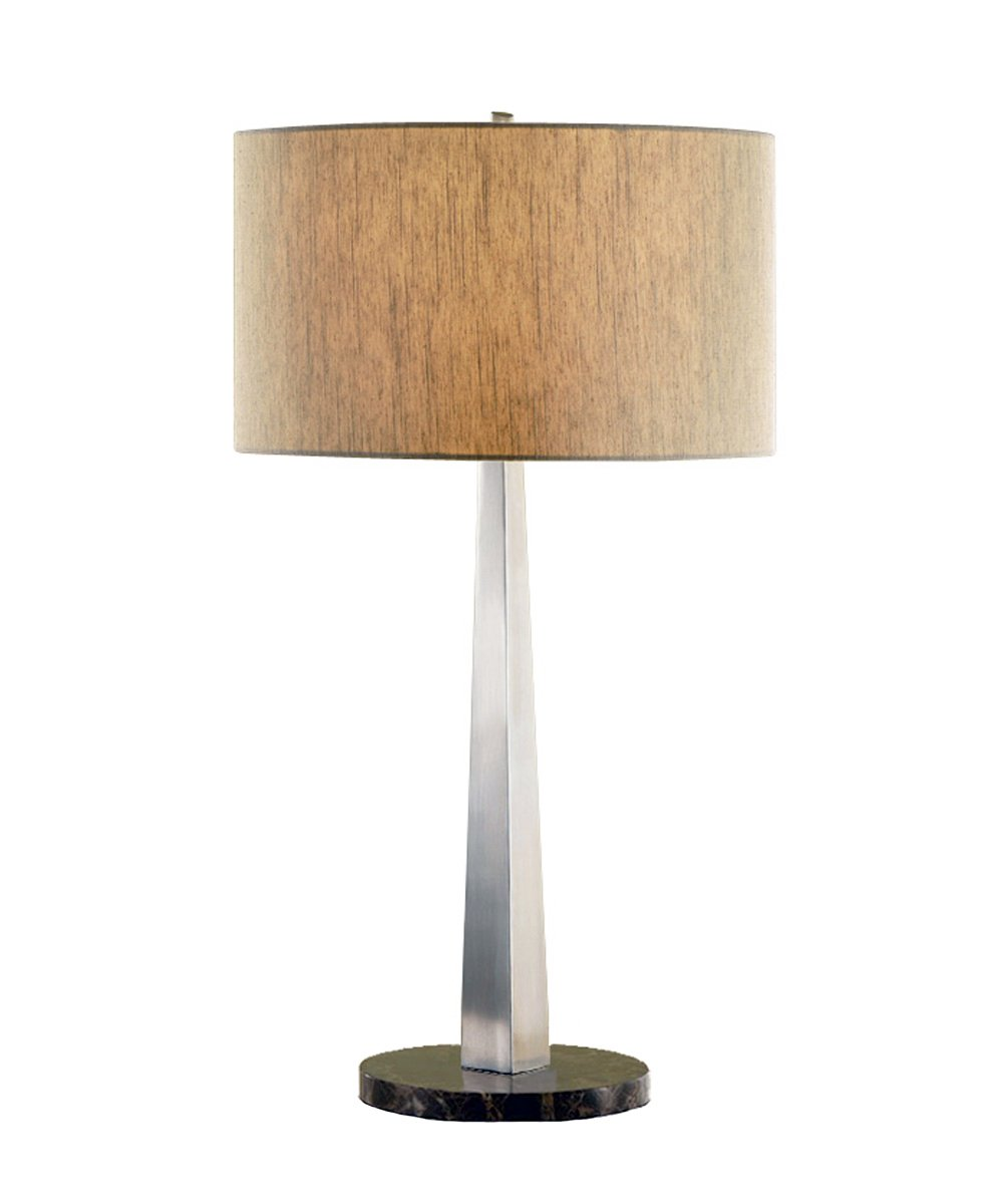 Artiva USA Luxor Contemporary Design, 32-inch Square-Tapered Brushed Steel Table Lamp with Marble Base and Rounded Tan Shade