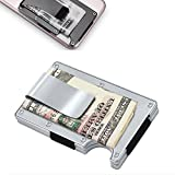 Metal Wallet Credit Card Holder with RFID blocking, Aluminum Money Clip Wallet (silver)