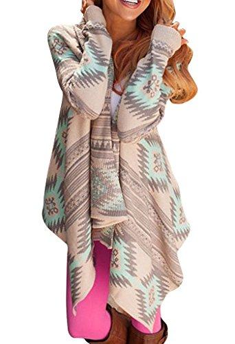 ZIOOER Women's Aztec Print Drape Open Front Drape Boyfriend Cardigan Sweaters Green Small