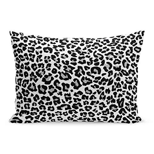 Semtomn Throw Pillow Covers Gray Pattern Snow Leopard Jaguar White Cheetah Spot Animal Skin Black Pillow Case Cushion Cover Lumbar Pillowcase Decoration for Couch Sofa Bedding Car 20 x 26 inchs