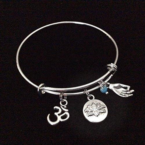 Turquoise Lotus Om Mudra Expandable Charm Bracelet