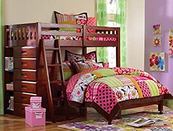 Discovery World Furniture Twin over Full Loft Bed - Merlot