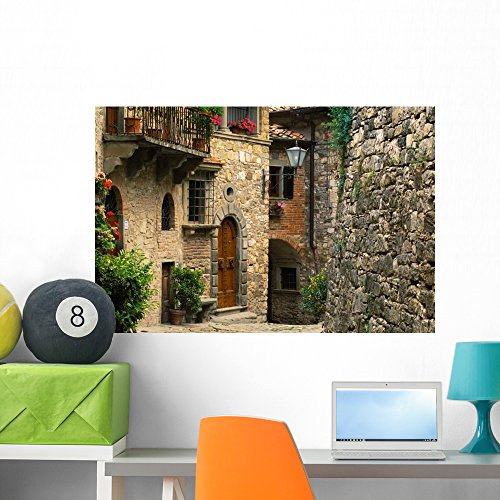 Wallmonkeys WM215898 Tuscan Stone Houses Wall Decal Peel and Stick Graphic (36 in W x 24 in H)