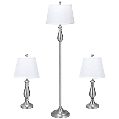 Tangkula Lamp Set 3-Piece Modern Home Living Room Bedroom Nickel Finish Lamps, Floor Lamp and Table Lamps Set with Soft Pleated White Fabric Shades (Nickel)