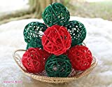 Christmas Gifts : Small Red, Green Rattan Ball, Wicker Balls, DIY Vase And Bowl Filler Ornament, Decorative spheres balls, Perfect For Decoration And Party 2.5 inch, 12 Pcs.