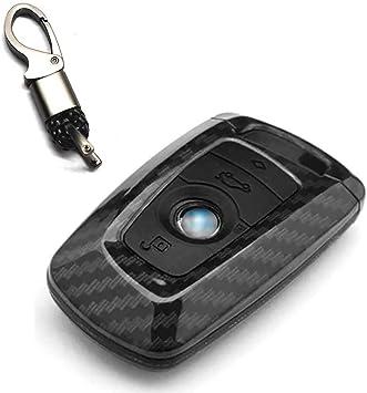 Ontto Für Bmw Smart Autoschlüssel Hülle Abdeckung Schlüssel Tasche Abs Gummi Schlüsselschutz Schlüsselanhänger Für Bmw1 3 4 5 6 7er X3 X4 M2 M3 3 Tasten Kohlefaser Schwarz Bekleidung
