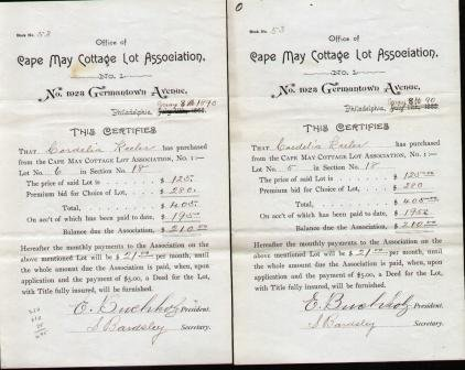 Cape May Cottage - OFFICE OF CAPE MAY COTTAGE ASSOCIATION (2 PURCHASE CERTIFICATES) No. 1923 Germantown Avenue