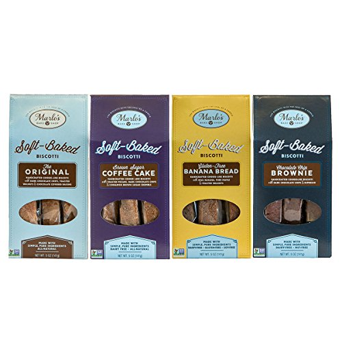 Walnut Sugar Cookies (Marlo's Bakeshop Gourmet Soft Biscotti Variety Pack Featuring Original Chocolate Chip Walnut, Brown Sugar Coffee Cake, Gluten Free Banana Bread and Chocolate Chip Brownie (4 Pack) )