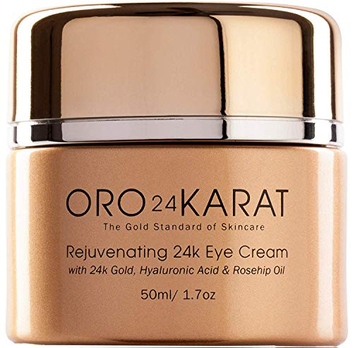 24K Eye Cream Hydrating Rejuvenating Removes Bags Under Eyes New Anti-Aging Formula Reduce Fine Lines Rich with Vitamins, Hyaluronic Acid, Rosehip Oil, and 24k Gold Made in the USA 1.7oz