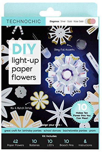 3de54321bd36 TechnoChic DIY Light-Up Paper Flowers Kit - Makes 10 Light-Up Flowers to