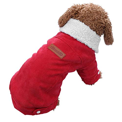 (Jocestyle Dog Jacket Winter Warm Dog Coats Fleece Lined Corduroy Puppy Pure Casual Outfits Pets Clothes (Red)