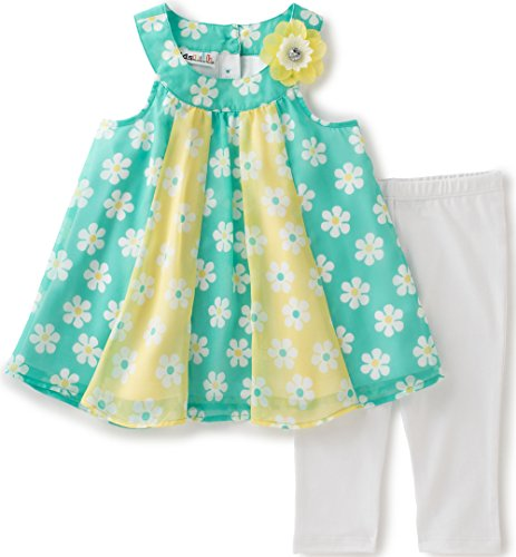 Polyester Georgette - Kids Headquarters Baby Girls' 2 Pieces Pants Set-Georgette Tunic, Yellow/Aqua, 24M