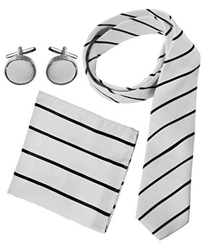 White Black Stripe Silk Necktie (Peach Couture Men's Silk Feel Necktie Cufflinks Pocket Square Handkerchief Set (Stripe, White/Black))